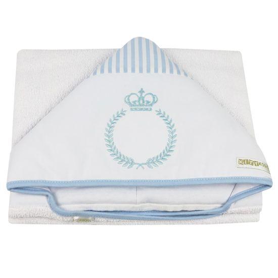 Toalha de Banho Masculina com Capuz Branca e Azul Clara Bordada Coroa