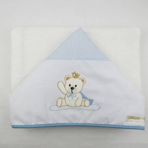 Toalha de Banho Masculina com Capuz Branca e Azul Clara Bordada Urso com Coroa