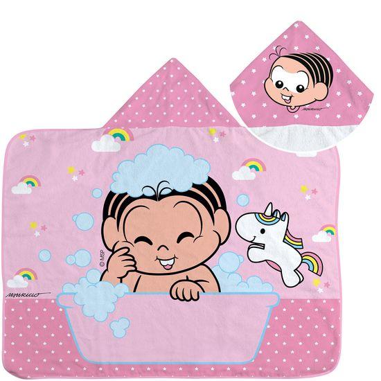 Toalha de Banho Turma da Mônica Baby 70 Cm X 90 Cm com Capuz e Forro de Fralda - Estampa Localizada Feminino