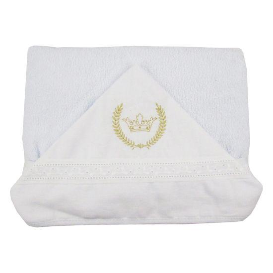 Toalha de Banho Unissex com Capuz Branca Bordada Coroa Dourada