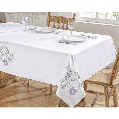 Toalha de Mesa Bordada 1,40m X 1,40m Dália Branco e Lilás