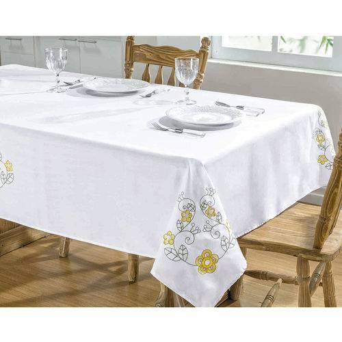 Toalha de Mesa Bordada 1,40m X 1,40m Dália Branco e Amarelo