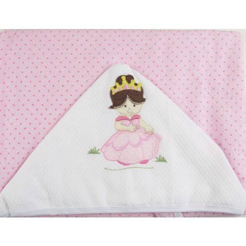 Toalha Forrada C/Capuz Bordado Princesa 908