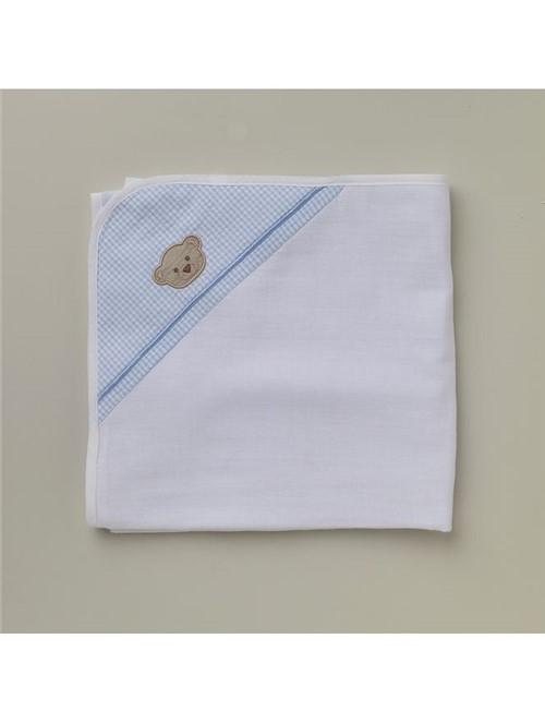 Toalha Fralda Orsetto Branca e Azul 70X100cm