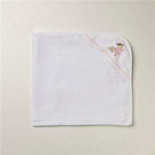 Toalha Fralda Rosette - Branco-rosa - 70x100