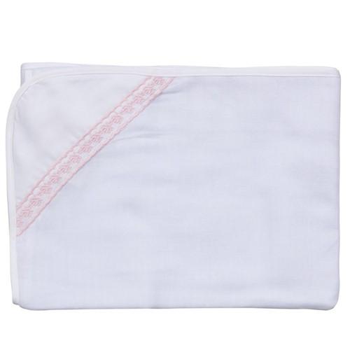 Toalha Fralda Rositas - Branco-rosa - 70x100