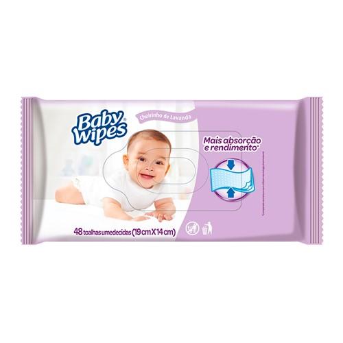 Toalha Umedecida Baby Wipes Cheirinho de Lavanda com 48 Unidades
