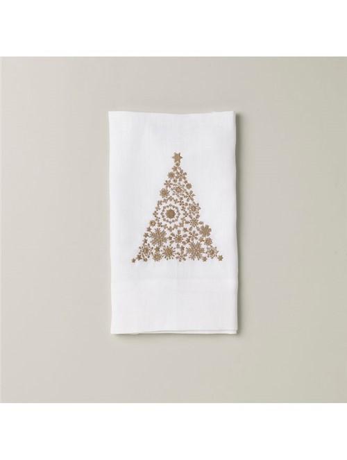 Toalha Visita Albero Di Natale Branca Dourada 26X45cm