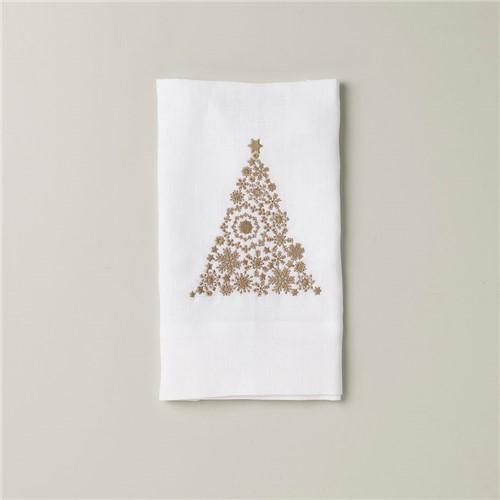 Toalha Visita Albero Di Natale - Branco-dourado - 26x45