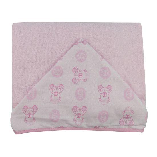 Toalhão de Banho Feminino com Capuz Rosa Estampado Ursinha