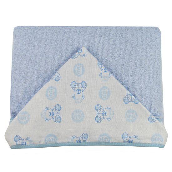 Toalhão de Banho Masculino com Capuz Azul Claro Estampado Ursinho