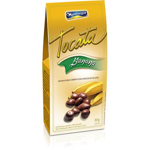 Tocata Banana Passa Coberta com Chocolate ao Leite 80g - Montevérgine