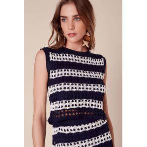 Top Cropped Crochet Bicolor Marinho - P