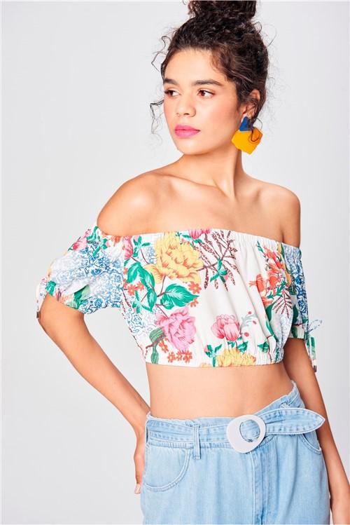 Top Cropped Estampa Floral Ombro a Ombro