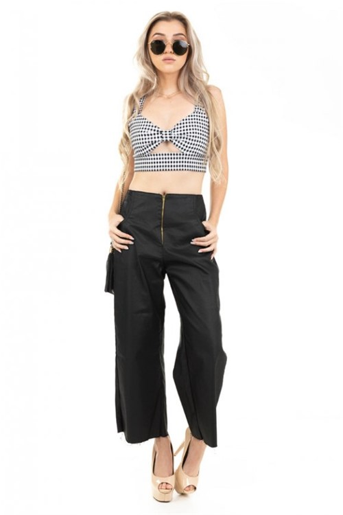 Top Cropped Estampado Xadrez TP0220 - P