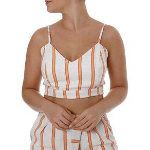 Top Cropped Feminino Autentique Nude/laranja P