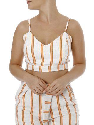 Top Cropped Feminino Autentique Nude/laranja