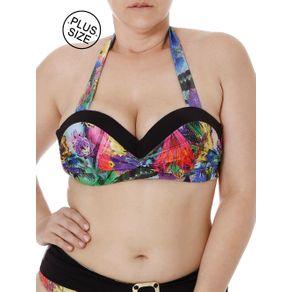 Top de Biquini Plus Size Feminino Preto/roxo 46