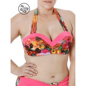 Top de Biquini Plus Size Feminino Rosa 46