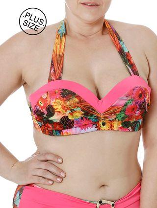 Top de Biquini Plus Size Feminino Rosa