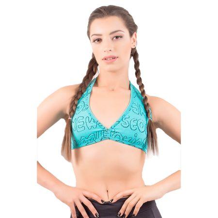 Top Feminino Fitness Jacquard Verde Água / M