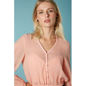 Top Mangas Amplas Cropped Rosa Crepusculo - 38