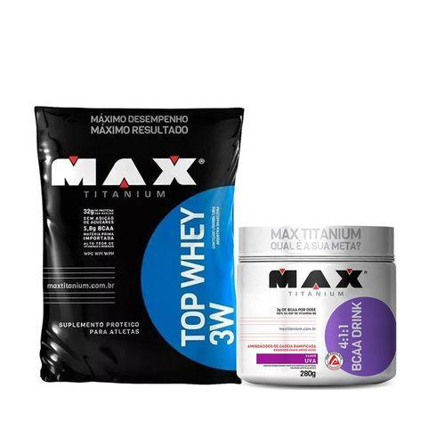 Top Whey 3w Baunilha Refil 1,8 Kg + Bcaa Drink Limao Max T