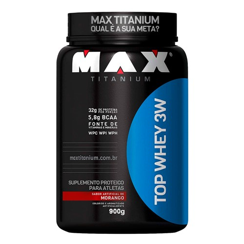 Top Whey 3W Max Titanium Morango com 900g