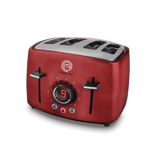 Torradeira Digital 4 Pães Premium MasterChef Vermelha TO3004V, 9 Níveis de Tostagem, 4 Funções e 1500W 127V