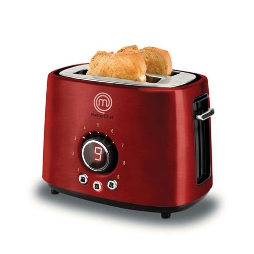 Torradeira Digital 2 Pães Premium MasterChef Vermelha TO3002V, 9 Níveis de Tostagem, 4 Funções e 900W 127V