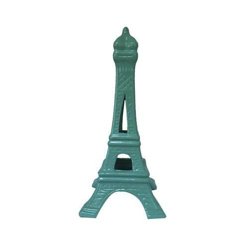 Torre Eiffel Decorativa Cerâmica Verde Água