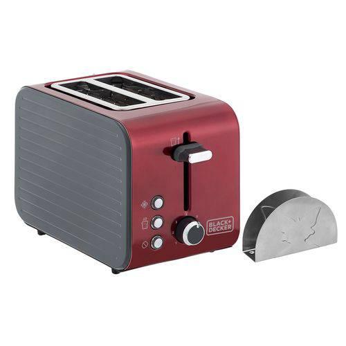 Tostador Black+decker T850v em Aço Inox C/ 7 Níveis de Temperatura 127v Vermelho Metálico