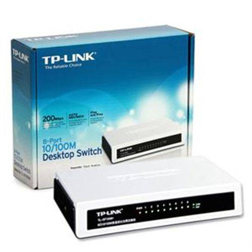 Tp-link, Switch não Gerenciável Tipo Desktop, 8 Portas Lan 10/100 Ethernet.