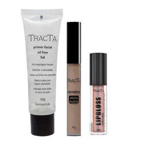 Tracta Lipgloss + HD + Matte Kit- Primer + Corretivo Médio + Gloss Kit