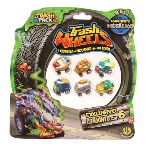 Trash Wheels Carros Metaloucos DTC Modelos e Cores Sortidos Série 1 com 6 Unidades