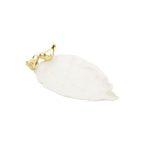Travessa de Cerâmica com Pássaro Dourado Lyor 21x13x5,5cm Branca
