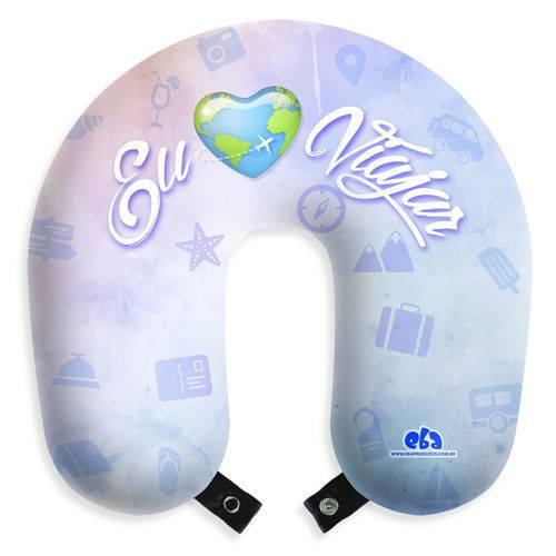 Travesseiro Almofada de Pescoço para Viagem e Descanso - eu Amo Viajar com Botão