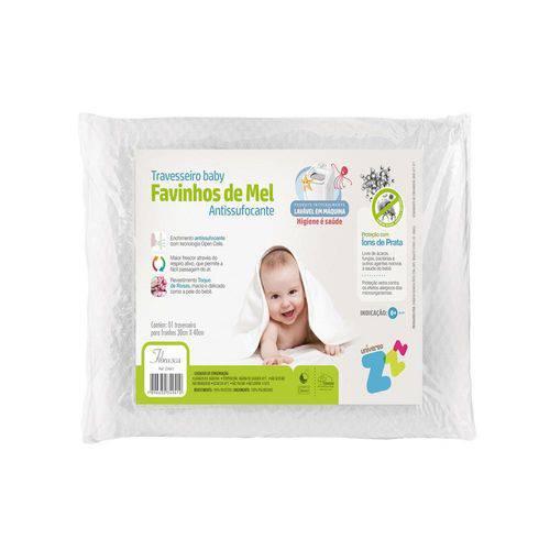 Travesseiro Baby Favinhos de Mel Antissufocante Lavável Fibrasca