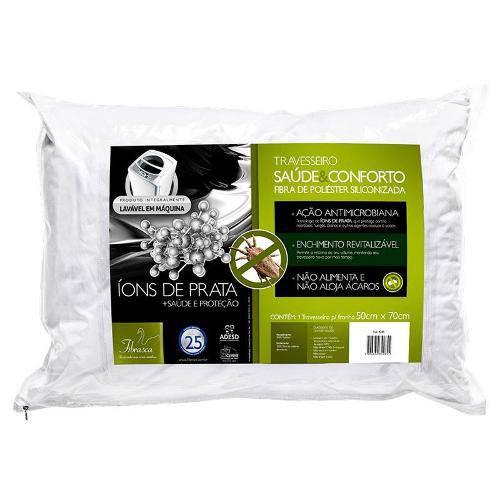 Travesseiro Fibrasca Saúde e Conforto Fibras Siliconizada C/ Íons de Prata Lavável - P/ Fronha 50x70