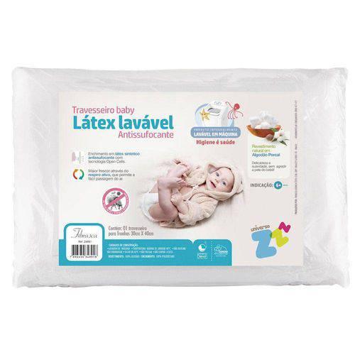 Travesseiro Látex Lavavel Baby Antisufocante 30x40cm Fibrasca
