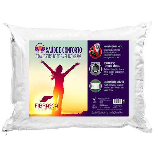 Travesseiro Saúde e Conforto Íons de Prata - Fibra Integralmente Lavável 50cm X 70cm Fibrasca