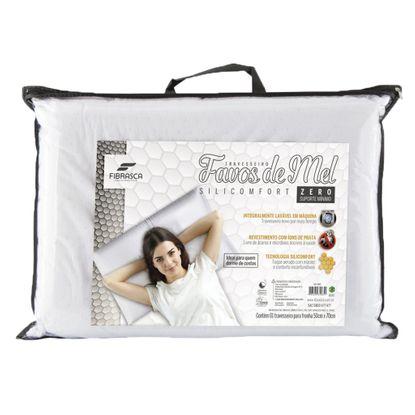 Travesseiro Silicomfort Fibrasca Favos de Mel Lavável Suporte Zero