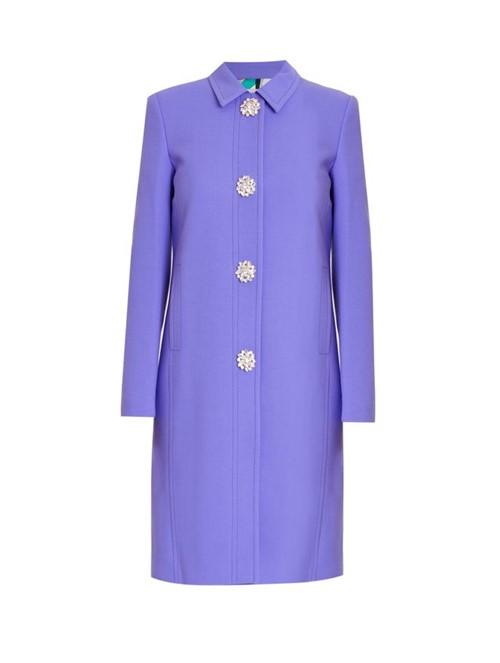 Trench Coat de Lã Azul Tamanho 40