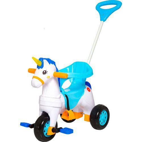 Triciclo Infantil Calesita Fantasy - 2 em 1 - Pedal e Passeio com Aro - Branco/azul/laranja