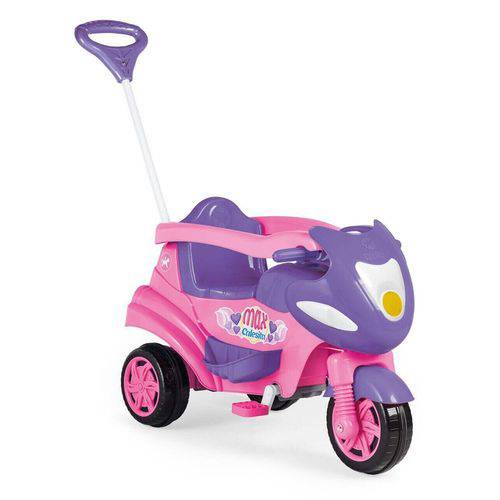 Triciclo Moto Infantil Max 2 em 1 com Buzina Rosa Calesita
