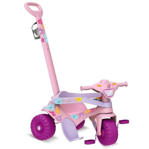 Triciclo Motoka Passeio e Pedal Gatinha Bandeirante Rosa
