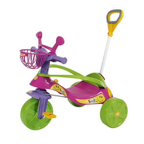Triciclo Smile Confort Elite Rosa com Haste Articulada Biemme