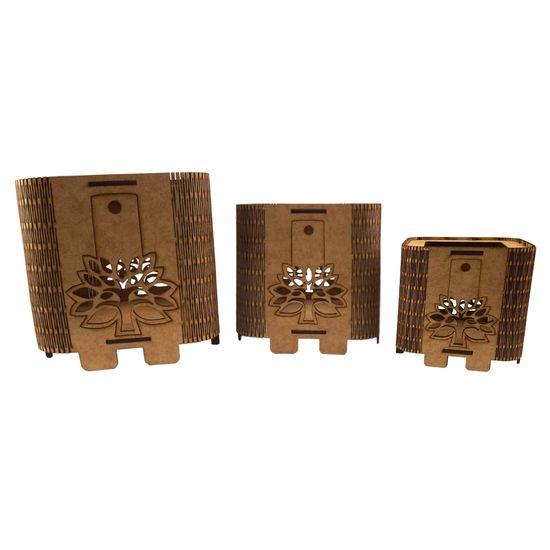 Trio de Cachepot Porta Objetos em MDF de Encaixe Árvore - Palácio da Arte