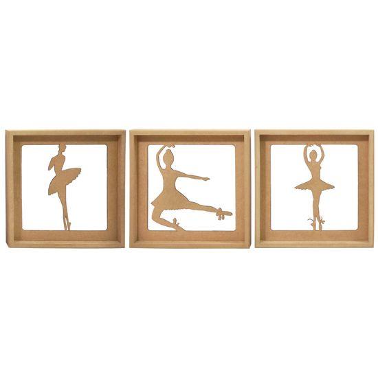 Trio de Quadros Decorativo 3D Bailarinas - MDF a Laser