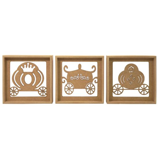 Trio de Quadros Decorativo 3D Carruagem Princesa - MDF a Laser